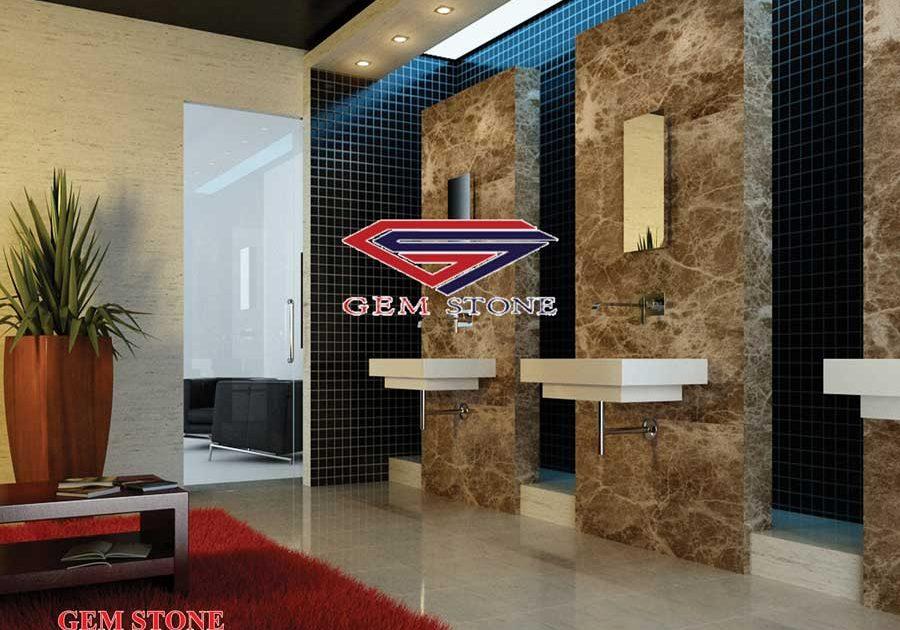 نمای داخلی سرویس بهداشتی از پروژه های سنگبری جم استون